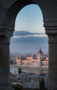 A view overlooking the city of Hungarian Parliament Building and Budapest and the River Danube at pink sunset, Hungary, Europe. Royalty Free Stock Photo