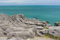 A view of the Pancake Rocks in Paparoa National park, New Zealand Royalty Free Stock Photo