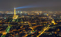 View of paris with the eiffel tower from montparnasse at night Royalty Free Stock Photos