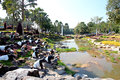 View of the park with ponds and statues animals Royalty Free Stock Images