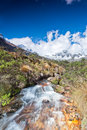 View of paso punta union on m santa cruz trek peru Royalty Free Stock Photos