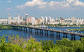 View of paton bridge and left bank of the dnieper river in kyiv ukraine Stock Images
