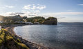 View of Perce village in Quebec Royalty Free Stock Photo