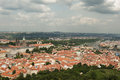 View from petrin lookout tower prague czech republic is the capital and largest city of the it is the fourteenth largest city in Royalty Free Stock Images