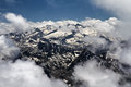 View from pic du midi pyrenees france of mountains in Stock Photography