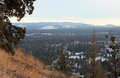 The view from pilot butte to south numerous snow covered buttes are seen here in winter bend oregon Royalty Free Stock Photography