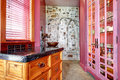View of pink storage built ins small room with and stone wall in cabinets Royalty Free Stock Image