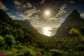 A view of the Pitons in St. Lucia Royalty Free Stock Photo