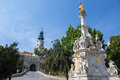 View of the plague column and castle in Nitra, Slovakia. It was