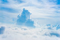The view from the plane above the cloud and sky window blue Stock Photography