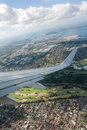 View from plane aerial window flying over suburban sydney Royalty Free Stock Images