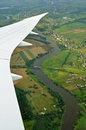 View from plane odra river Stock Photos