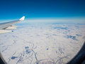 View of plane wing with the snow russia Royalty Free Stock Images