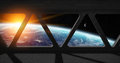 View of planet Earth from inside a space station Royalty Free Stock Photo