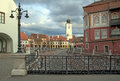View podul minciunilor towards tower turnul sfatului piata mica small square landmark sibiu town transylvania romania Royalty Free Stock Images