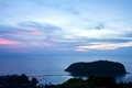 View point sunset from top of mountain for see the blue sea wave Royalty Free Stock Photo