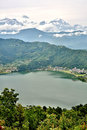 View of pokhara lake with annapurna in background nepal Royalty Free Stock Image