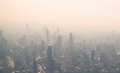 View of the pollution in shanghai late afternoon from sky Stock Image