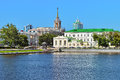 View from the pond on the City Hall building in Yekaterinburg Royalty Free Stock Photo