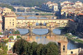 View the Ponte Vecchio and Arno river in Florence Stock Photography