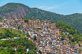 View of poor living area in rio de janeiro on the hills brazil Royalty Free Stock Photo