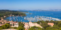View of porquerolles island marina in france from fort sainte agathe Stock Images