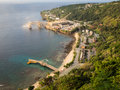 View of the port on christmas island australia and town an indian ocean territory Royalty Free Stock Images