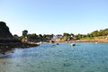 A view of port clos landing stade at low tide in brittany brehat island july Stock Photo