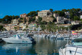 View in port de soller and its small boat harbor october that brought unusually good weather and with that an extended tourist Stock Image