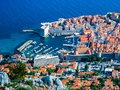 View of the port and the old town in Dubrovnik City.