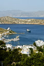 View of the port of ios island greece cyclades Royalty Free Stock Image