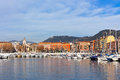 View on port of nice french riviera france and luxury yachts Stock Photography