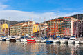 View on port of nice french riviera france and luxury yachts Stock Images