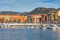 View on port of nice french riviera france and luxury yachts Royalty Free Stock Photo