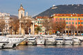 View on port of nice and luxury yachts france french riviera Stock Photography