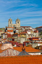 View of porto cathedral and rooftops high up Royalty Free Stock Photos