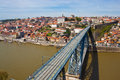View of Porto and Dom Luis Bridge Stock Photos