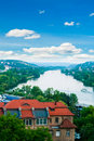 View of Prague city and Vltava river Royalty Free Stock Images