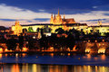 View on Prague with gothic Castle after Sunset Royalty Free Stock Photo