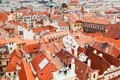 View on Prague`s roof from the top of Old town hal Royalty Free Stock Photo
