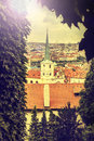 View of prague vintage retro style czech republic instagram Stock Photography