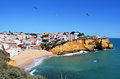 View praia da carvoeiro beach village cliffs Royalty Free Stock Photo
