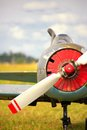 View on propeller on old russian airplane on green grass Royalty Free Stock Photo
