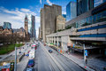 View of Queen Street West and modern buildings in downtown Toronto, Ontario. Royalty Free Stock Photo