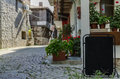 View of quiet street in old village Royalty Free Stock Photo