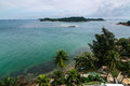 View from raffles lighthouse of the straits of singapore and the southern islands pulau setumu Royalty Free Stock Photography