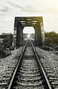 View of railway and old steel bridge,mean There light at the end of the tunnel,success way Royalty Free Stock Photo