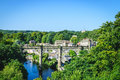 View of Railway viaduct over the River Nidd, Knaresborogh Royalty Free Stock Photo