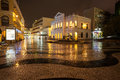View in rain on the historic centre of macao senado square macau china october night was inscribed Stock Image