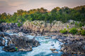 View of rapids in the Potomac River at sunset, at Great Falls Pa Royalty Free Stock Photo